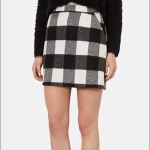 Topshop Brushed Gingham Buffalo Check Mini Skirt